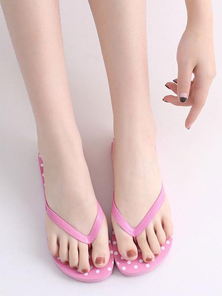 Milanoo Sandal Slippers Black Polka Dot Sandal Flip Flops Slides Women\s Beach Slippers