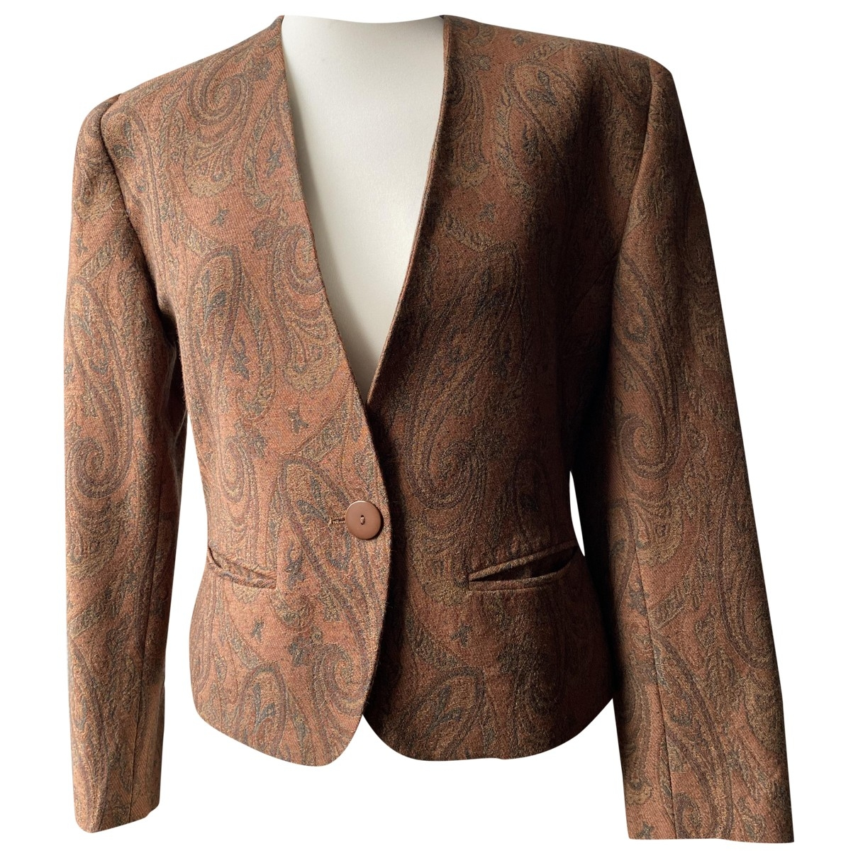 Non Signé / Unsigned \N Brown Wool jacket for Women 38 FR