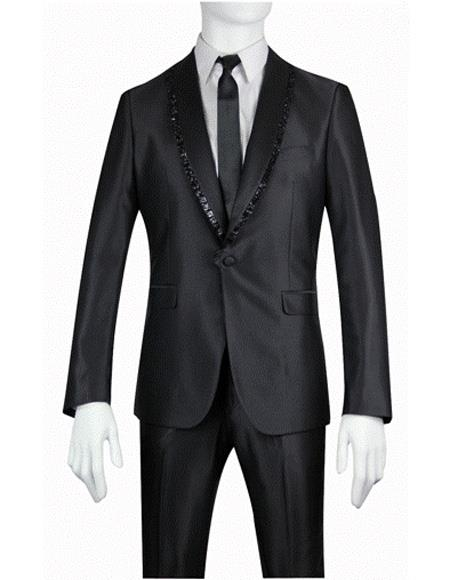 Mens Slim Fit Shiny Sharkskin Shawl Suit - Tuxedo with Fancy Trim