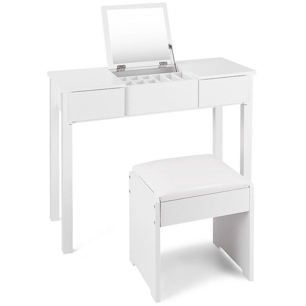 Black / White Vanity Makeup Dressing Table Set with Cell Storage Box-White (White)