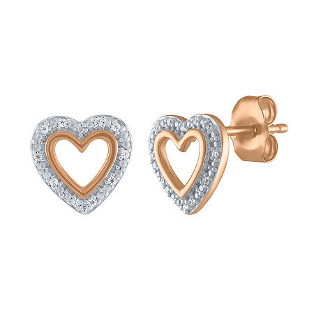 Diamond Accent Genuine White Diamond 10K Rose Gold 8.5mm Heart Stud Earrings, One Size , No Color Family