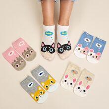 5pairs Cartoon Pattern Socks