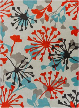 Cosmopolitan COS-9197 8' x 11' Rectangle Modern Rug in Teal  Bright Orange  Ivory  Black  Medium