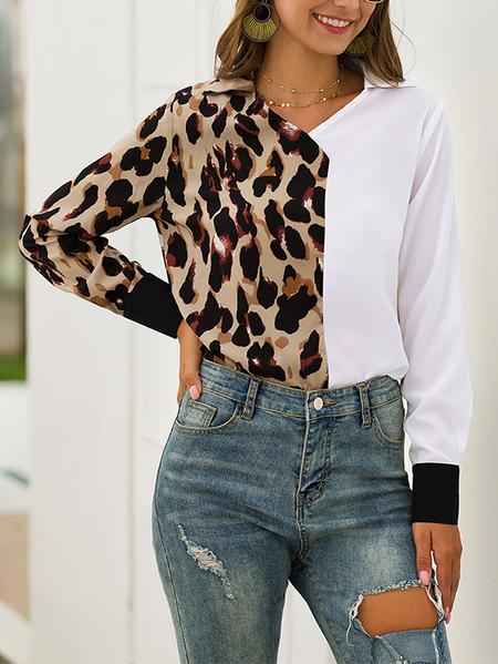 Yoins Leopard Patchwork V-neck Long Sleeves Shirt