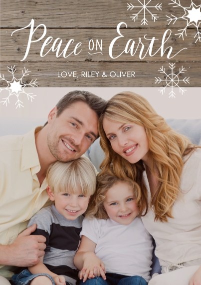 Rustic 5x7 Cards, Premium Cardstock 120lb, Card & Stationery -Peace on Earth