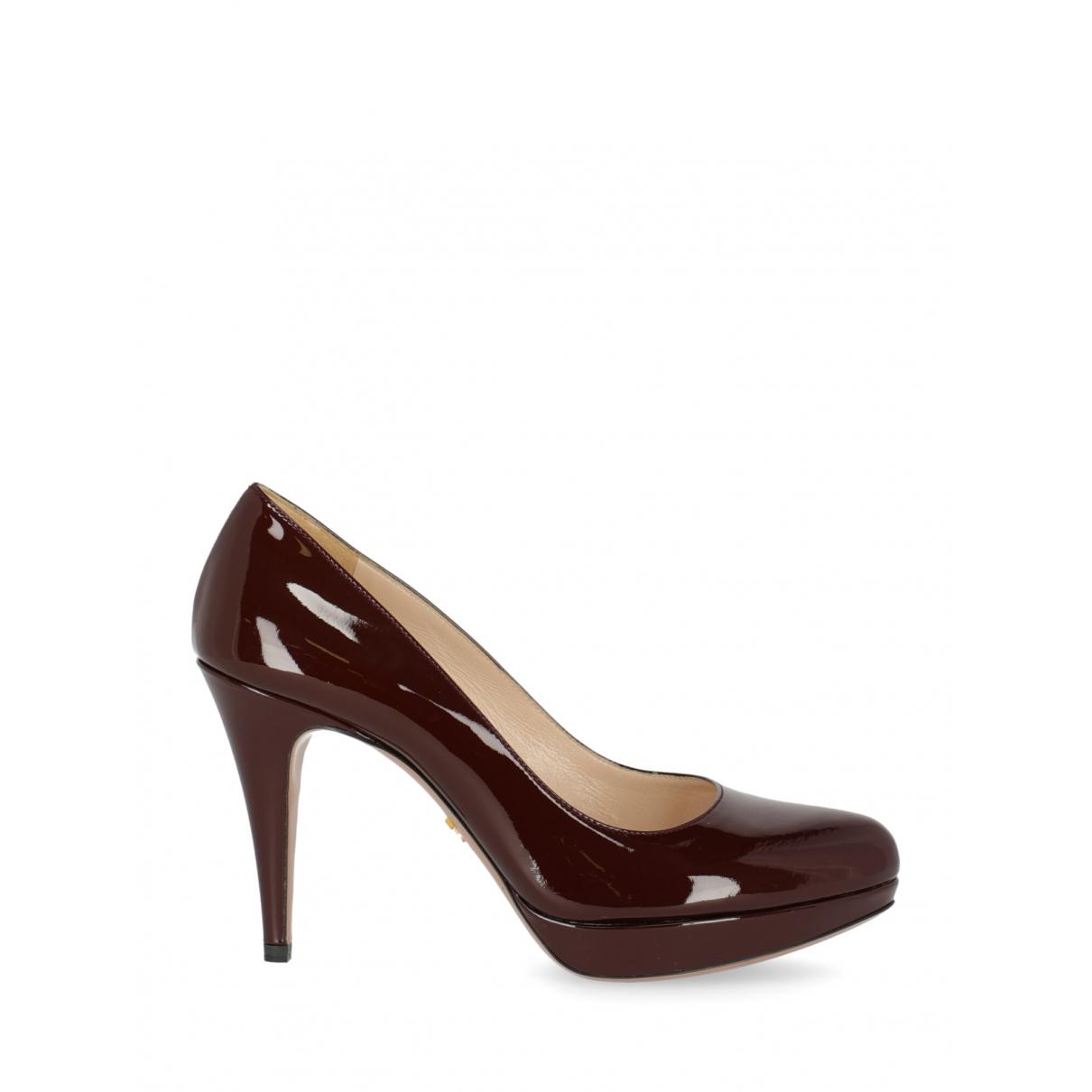 Prada \N Burgundy Patent leather Heels for Women 38.5 IT