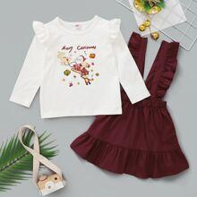 Baby Girl Christmas Print Tee & Suspender Skirt