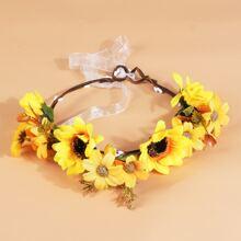 Kleinkind Maedchen Haarband mit Sonnenblumen Dekor