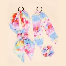 4pcs Tie Dye Pattern Hair Tie