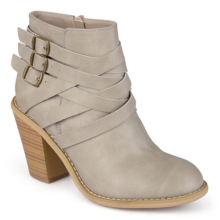 Journee Collection Womens Strap Booties Stacked Heel, 11 Wide, Gray