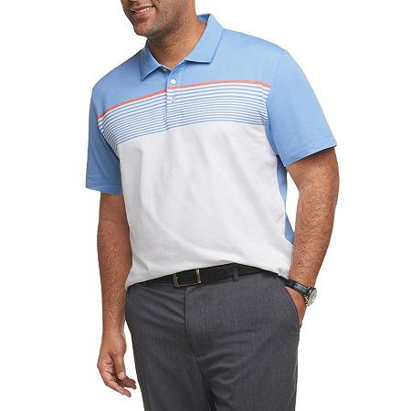 Van Heusen Striped Mens Short Sleeve Polo Shirt Big and Tall, 4x-large Tall , Blue
