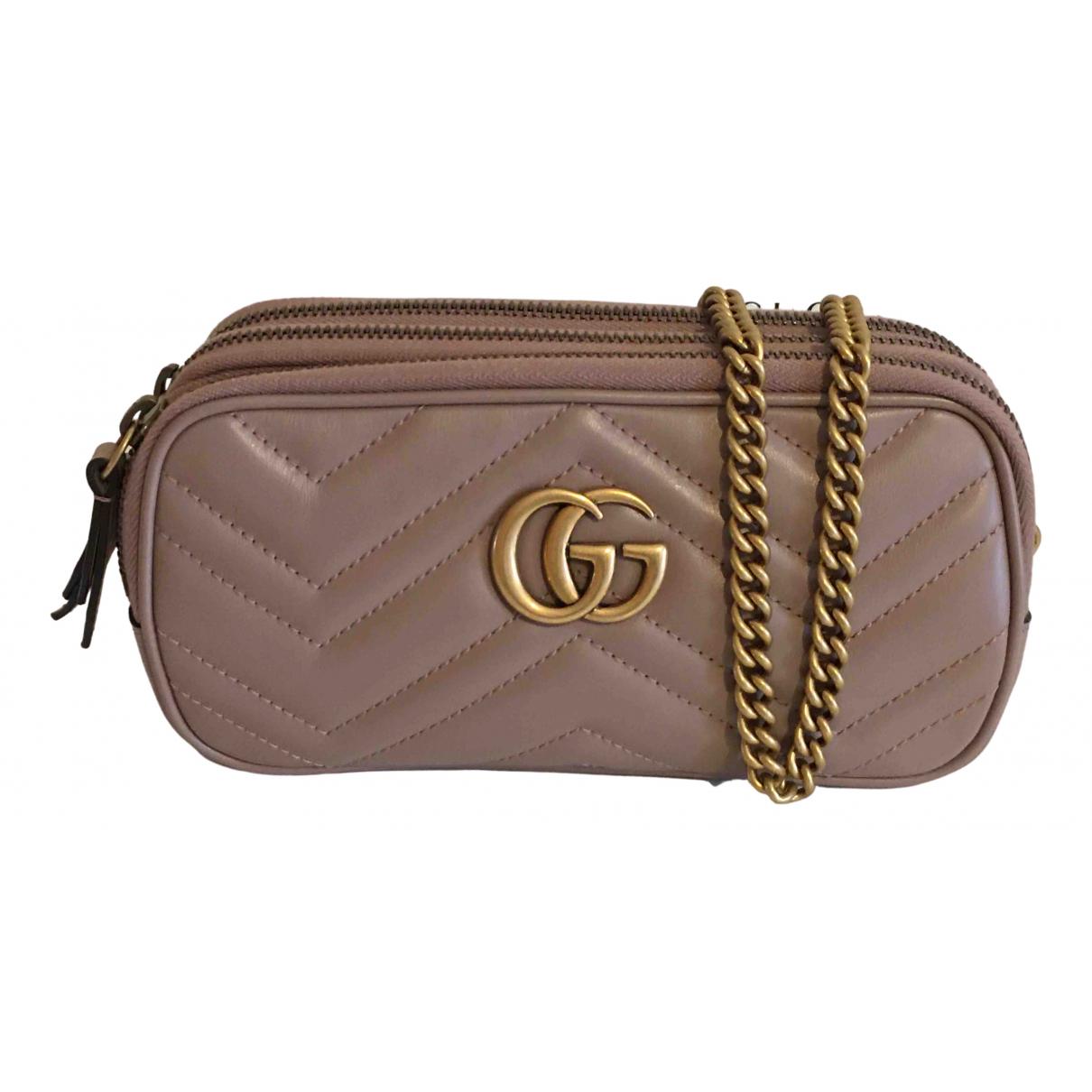 Gucci Marmont Handtasche in  Rosa Leder