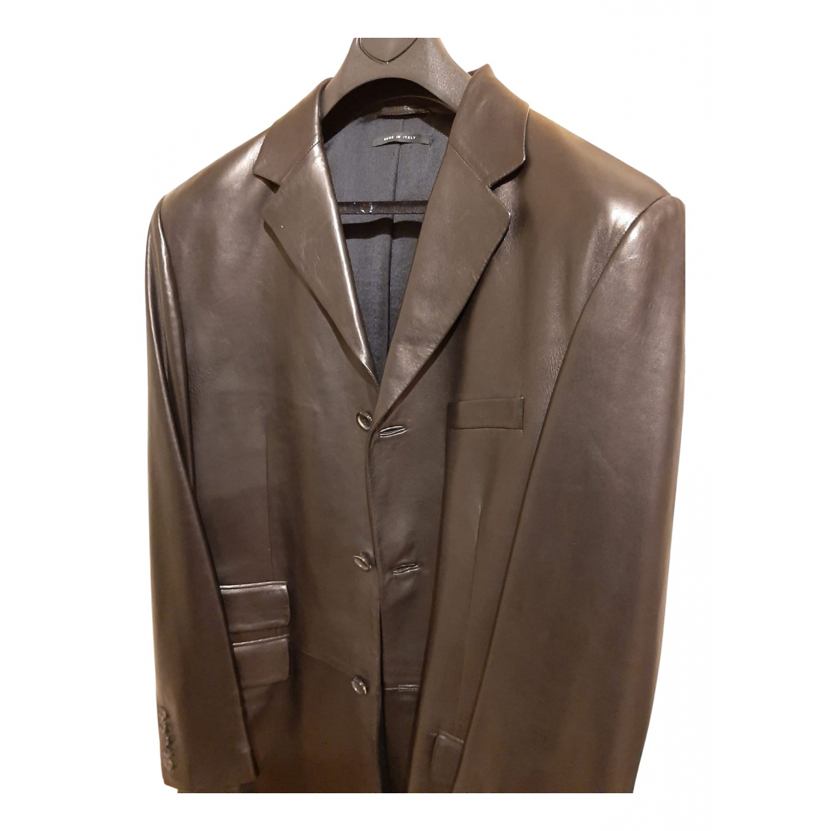 Gucci - Manteau   pour homme en cuir - noir