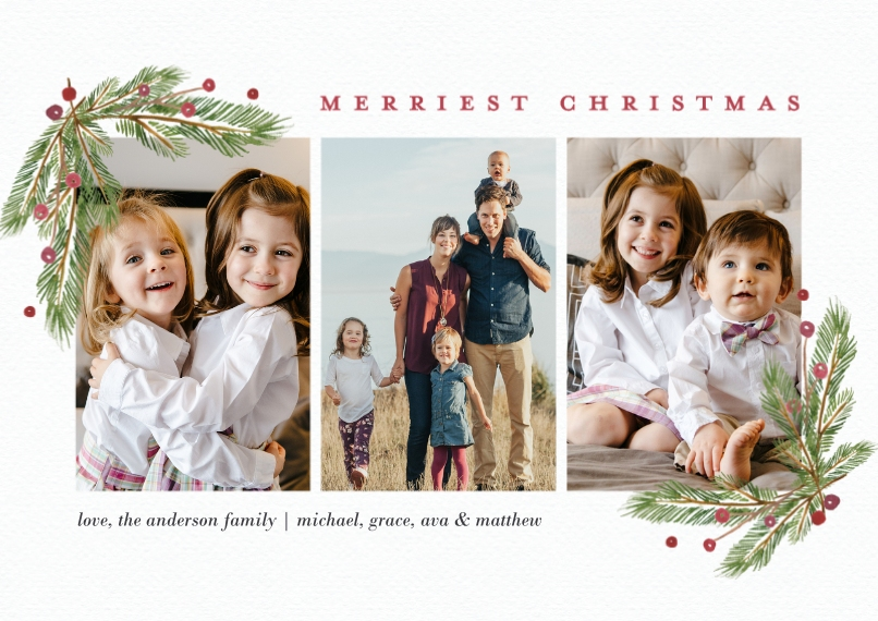 Christmas Photo Cards 5x7 Cards, Premium Cardstock 120lb with Scalloped Corners, Card & Stationery -Christmas Evergreen Berries