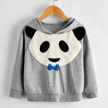 Toddler Boys Panda Print Bow Front Hooded Sweatshirt