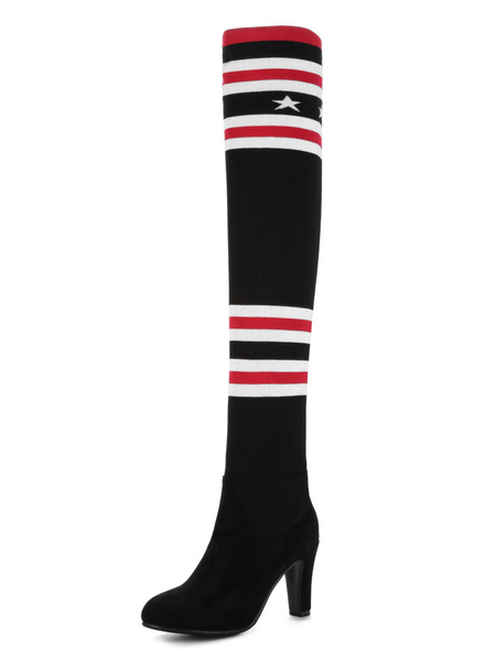 Milanoo Thigh High Boots Womens Knitting Wool and Micro Suede Striped Round Toe Chunky Heel Over The Knee Boots
