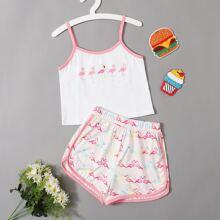 Girls Flamingo Print Ringer Cami Top & Dolphin Shorts PJ Set
