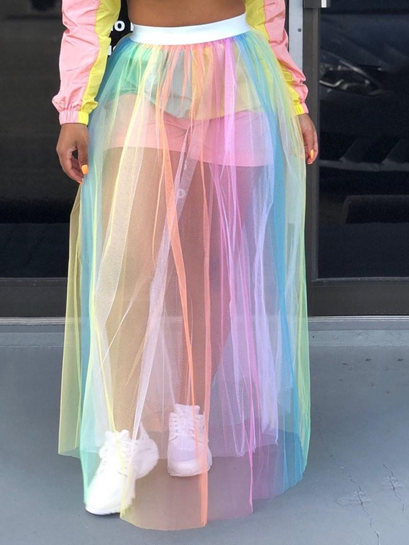 Ericdress Mesh Floor-Length Color Block See-Through Skirt