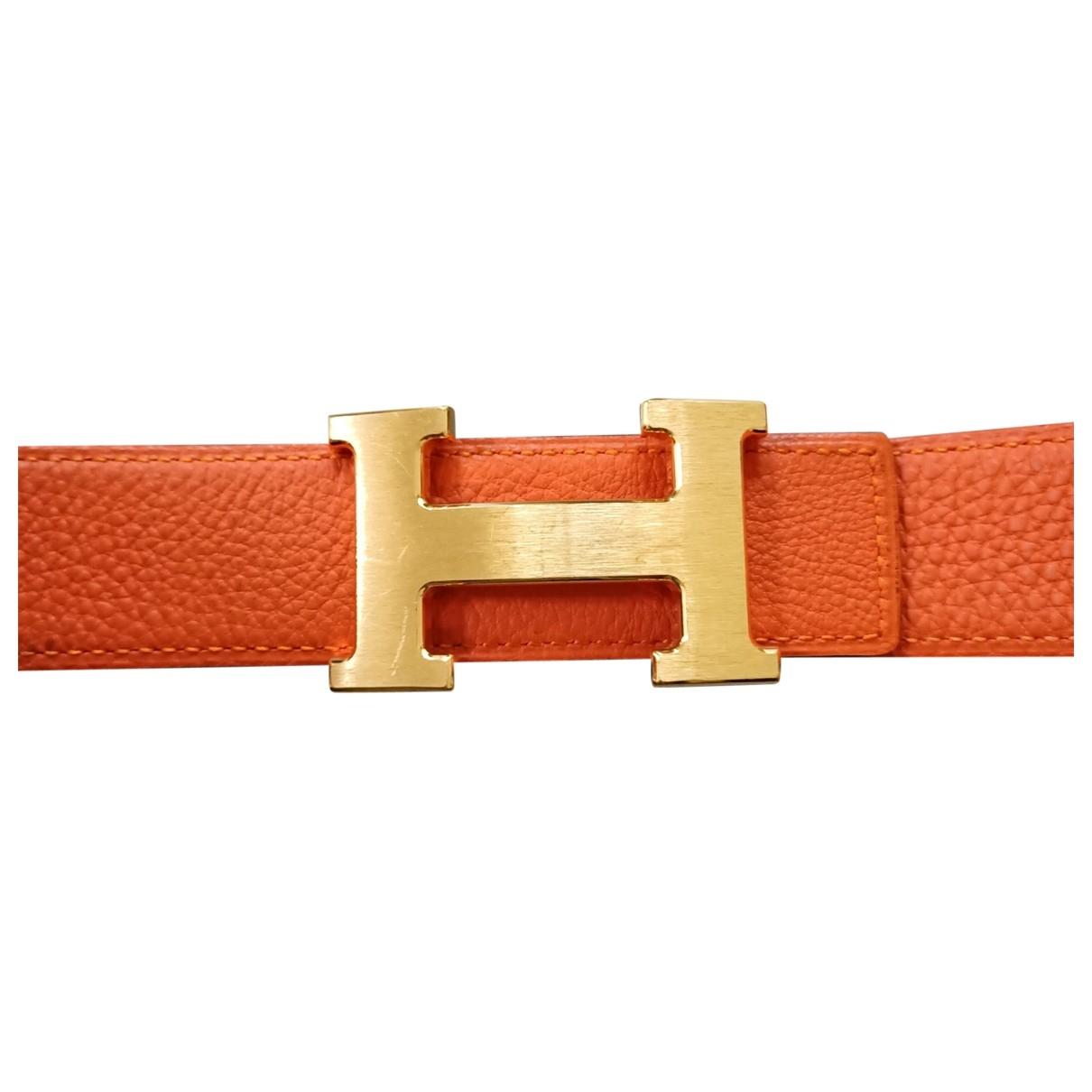 Hermès H Orange Leather belt for Women 85 cm
