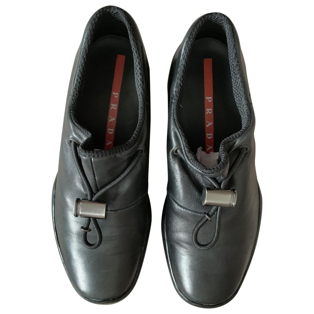 Prada \N Black Leather Trainers for Women 35.5 EU