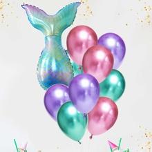 12 Stuecke Ballon Set mit Meerjungfrauschwanz Design