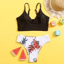 Girls Tropical & Floral Bikini Swimsuit
