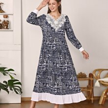 Contrast Lace Ruffle Hem Allover Print Babydoll Dress
