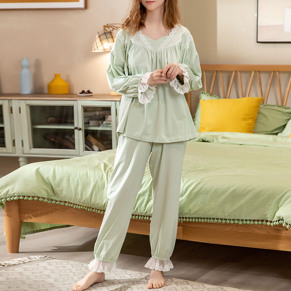 Patchwork Polyester Casual Sleep Top Women's Pajama Suit Nightgowns