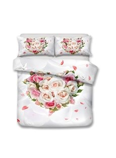 Pink Roses And Champagne Roses In A Heart Shape Printed 3-Piece Bedding Sets/Duvet Covers