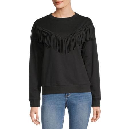 a.n.a Womens Crew Neck Long Sleeve Sweatshirt, Xx-large , Black
