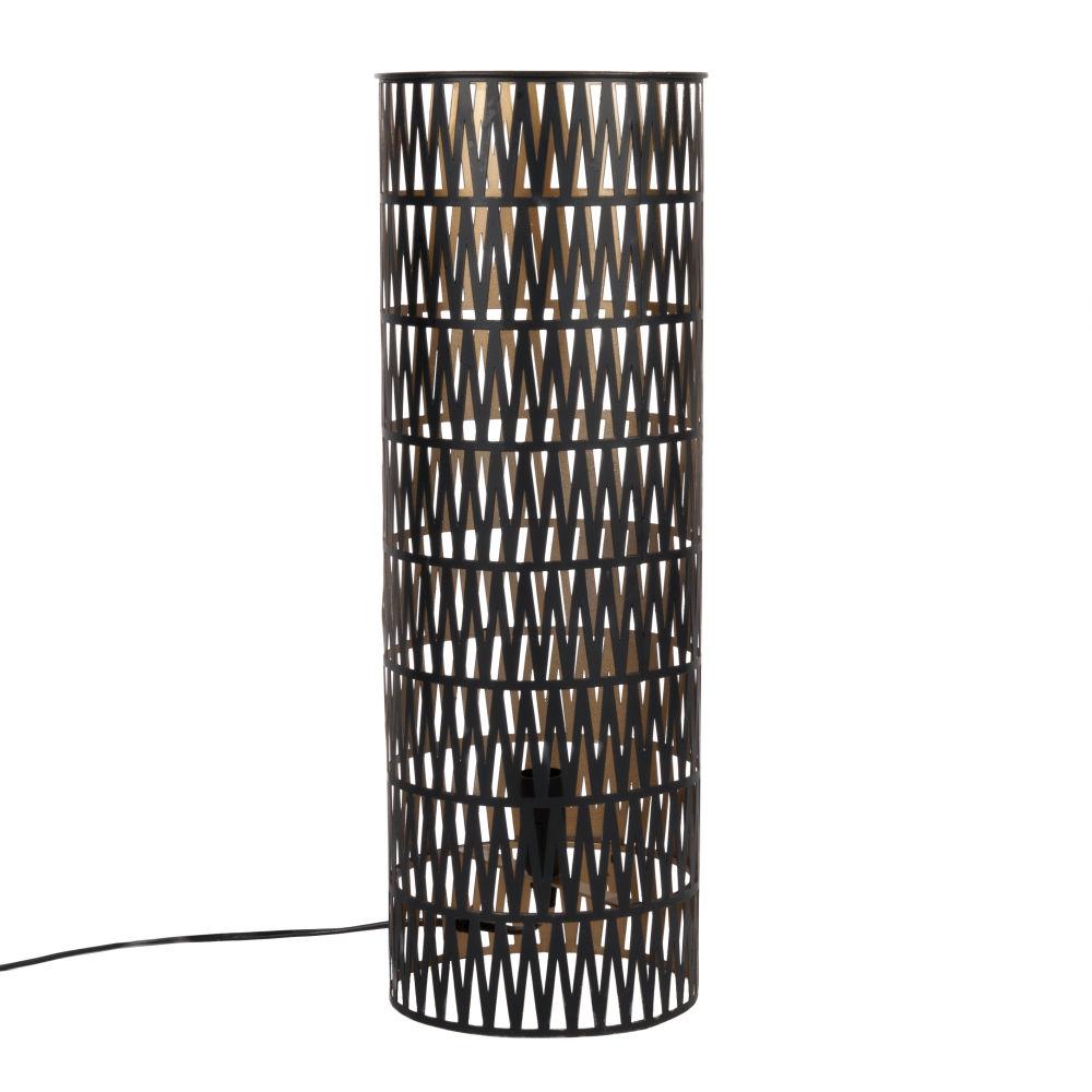 Rohrenformige Lampe aus schwarzem Metall mit Lochmuster