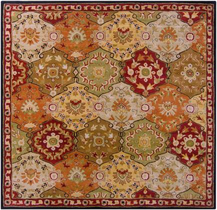 Caesar CAE-1034 8' Square Traditional Rug in Camel  Garnet  Khaki  Dark Brown  Black