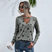 Camiseta de cuello con abertura de ojo con estampado de estrella