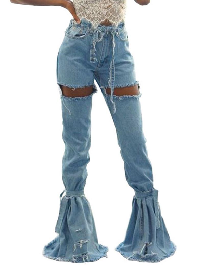 Ericdress Hole Plain Bellbottoms Slim High Waist Jeans