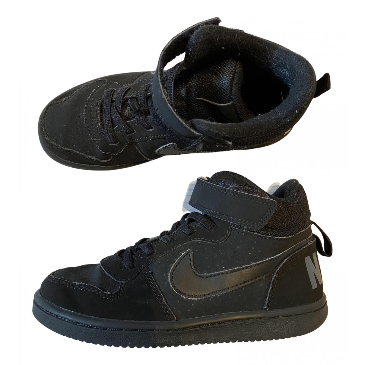Nike - Baskets   pour enfant en cuir - noir
