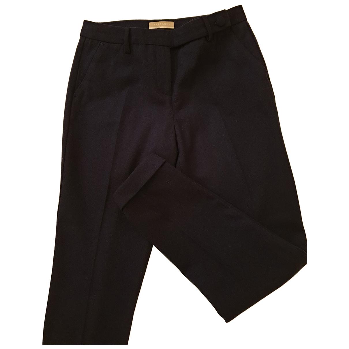 Stefanel N Blue Wool Trousers for Women 42 IT
