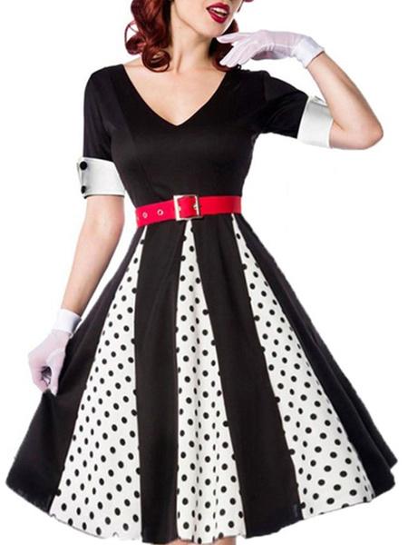 Milanoo Retro Dress 1950s Black Woman\'s Short Sleeves V-Neck Rockabilly Dress
