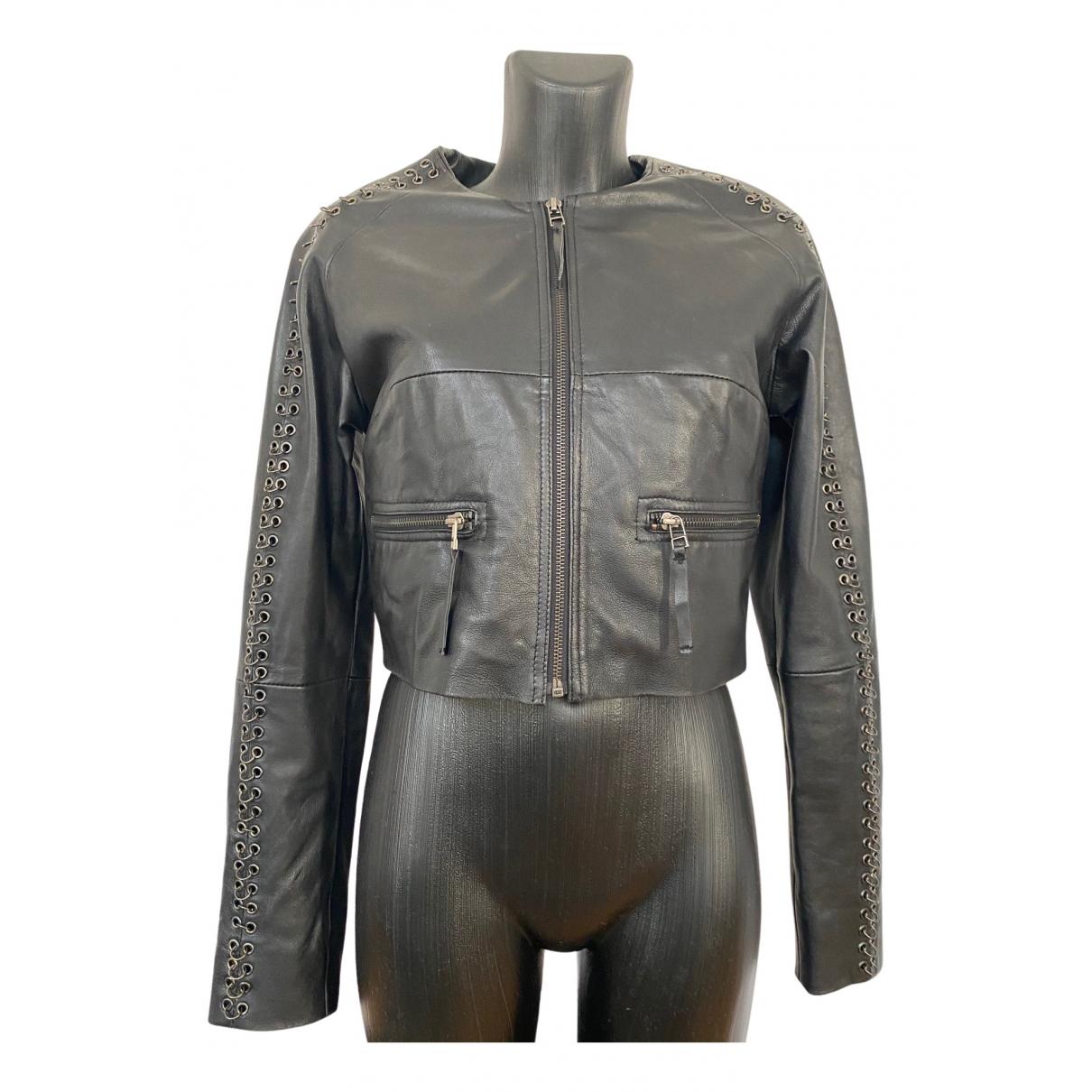 Gestuz - Veste   pour femme en cuir - noir