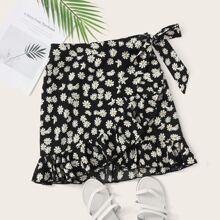 Daisy Print Tie Side Ruffle Trim Skirt