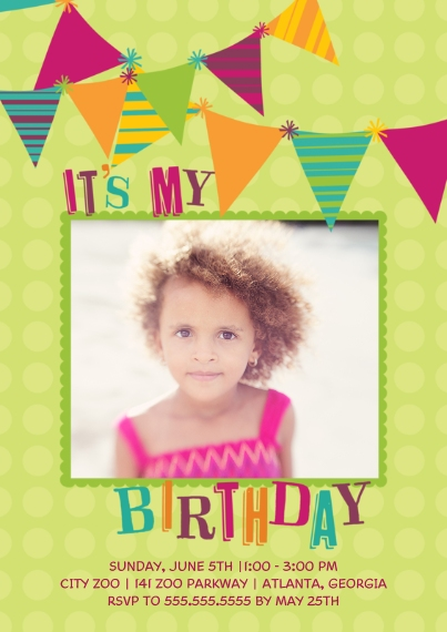 Kids Birthday Party Invites 5x7 Cards, Premium Cardstock 120lb with Rounded Corners, Card & Stationery -It's My Birthday Flags - Girl