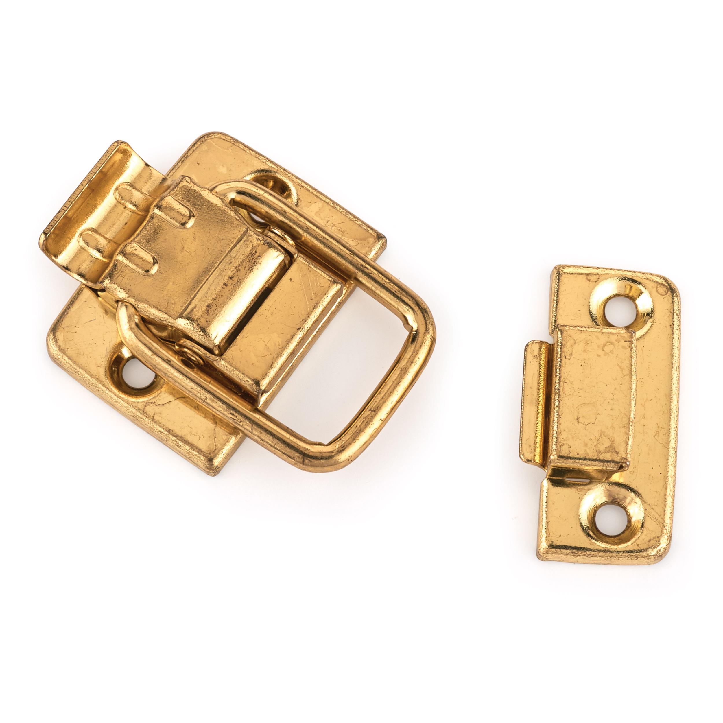 Draw Catch Small Polished Brass Plated 1-piece with Screws
