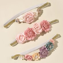 3 piezas diadema de bebe con flor