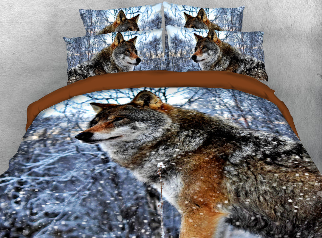 3D Wolf 4Pcs Animal Zipper Bedding Soft Hard-wearing Colorfast Duvet Cover Set with Corner Ties