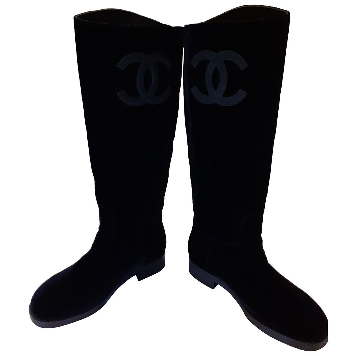 Chanel - Bottes   pour femme en velours - noir