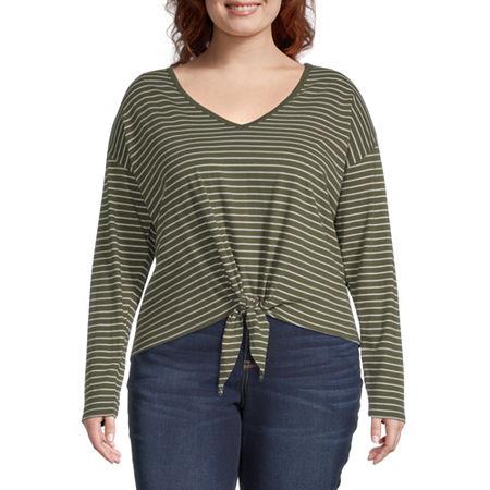 a.n.a Plus-Womens V Neck Long Sleeve T-Shirt, 1x , Green