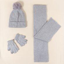 1 pieza gorro simple de niñitos con 1 par guantes con 1 pieza pañuelo