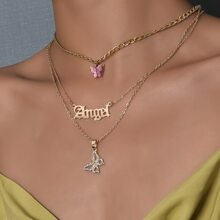 Letter Butterfly Layered Necklace