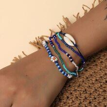 3pcs Shell Decor String Bracelet