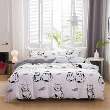 Bettwaesche Set mit Katze Muster ohne Fuellstoff