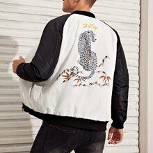 Jacke mit Leopard & Buchstaben Grafik, Raglanaermeln und Polster